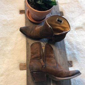 Frye Brown Leather Zipper Western Ankle Boot 7.5